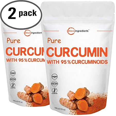 Maximum Strength Organic Pure Curcumin 95 Natural Turmeric Extract Powder, Rich in Antioxidants for Joint Support, 100 Gram 2 Pack .Vegan Friendly