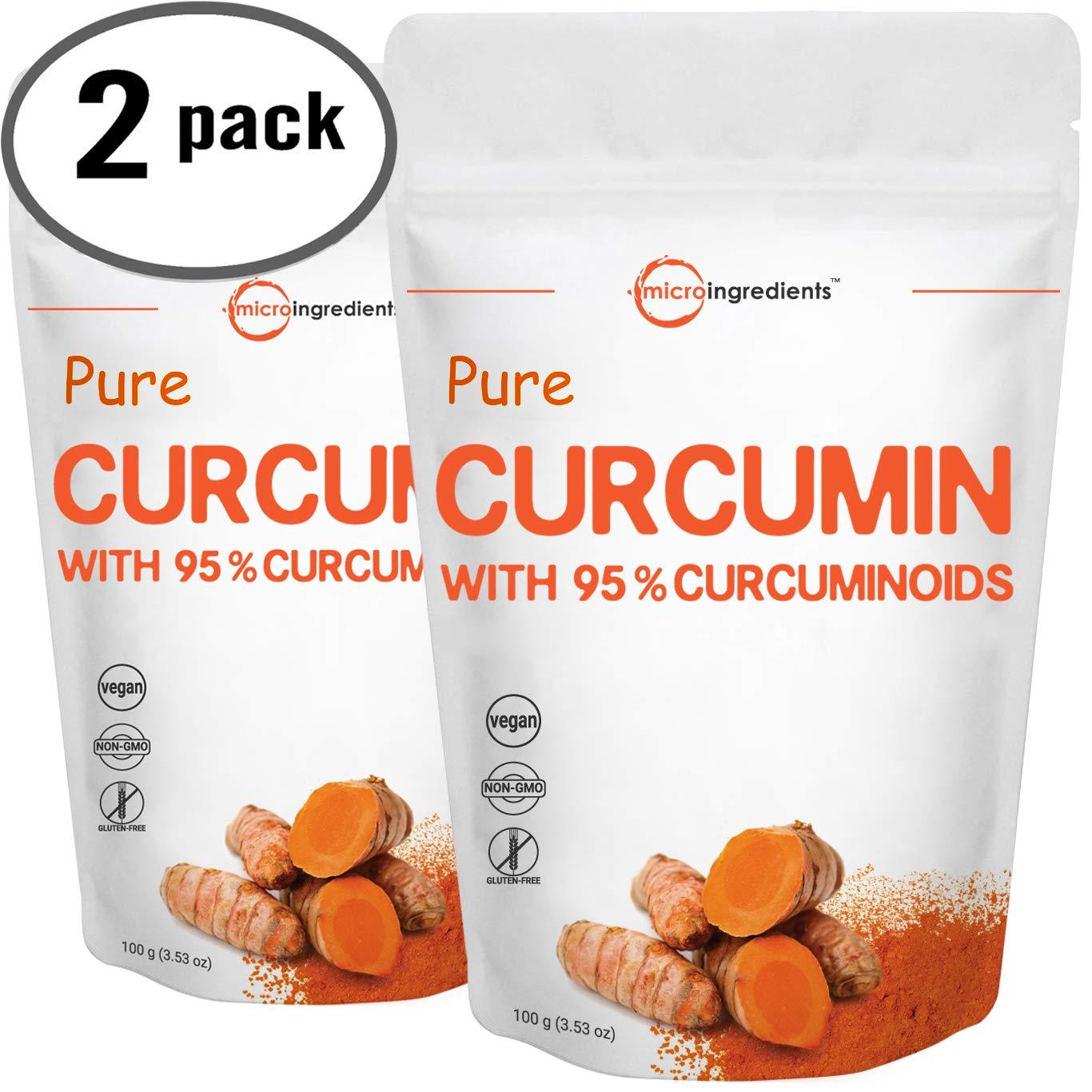 Maximum Strength Organic Pure Curcumin 95% (Natural Turmeric Extract) Powder, Rich in Antioxidants for Joint Support, 100 Gram (2 Pack).Vegan Friendly