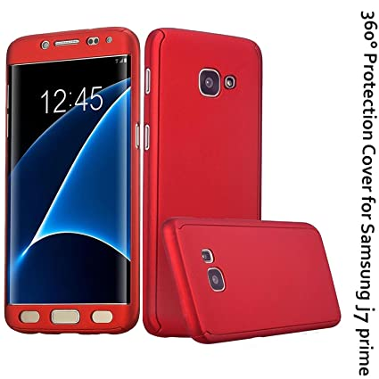 pretty nice 2bd36 b8773 CEDO 360 Degree Full Body Protection Front & Back Case Cover (iPaky Style)  with Tempered Glass for Samsung Galaxy J7 Prime/On Nxt (Red)
