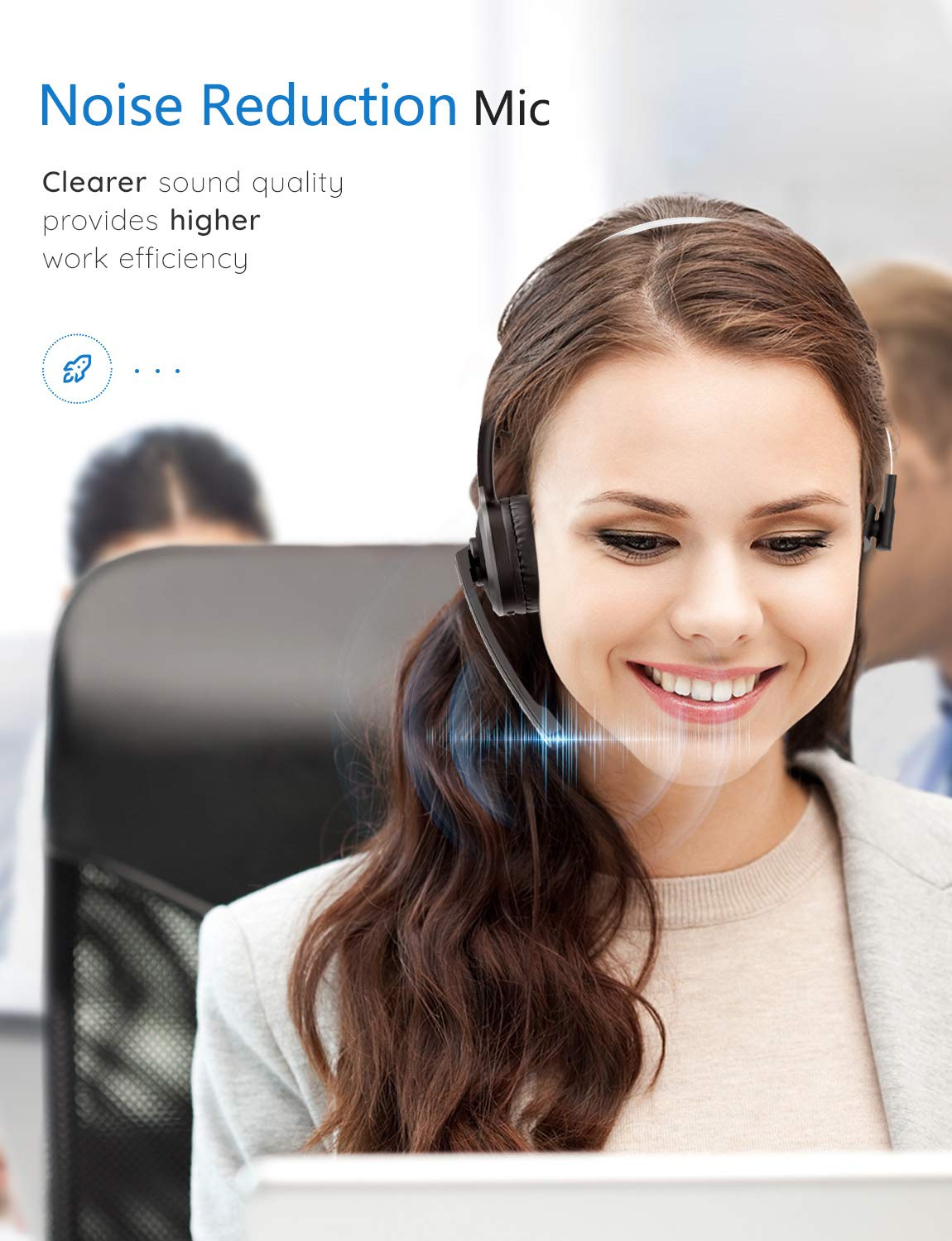 Advanced Noise Cancelling Microphone Comfort-fit Truck Driver Headset with Charging Base Strong BT Signal Mpow M5 Pro Bluetooth Headset Hands-Free Wireless Headphones for Skype//Call Center//Office