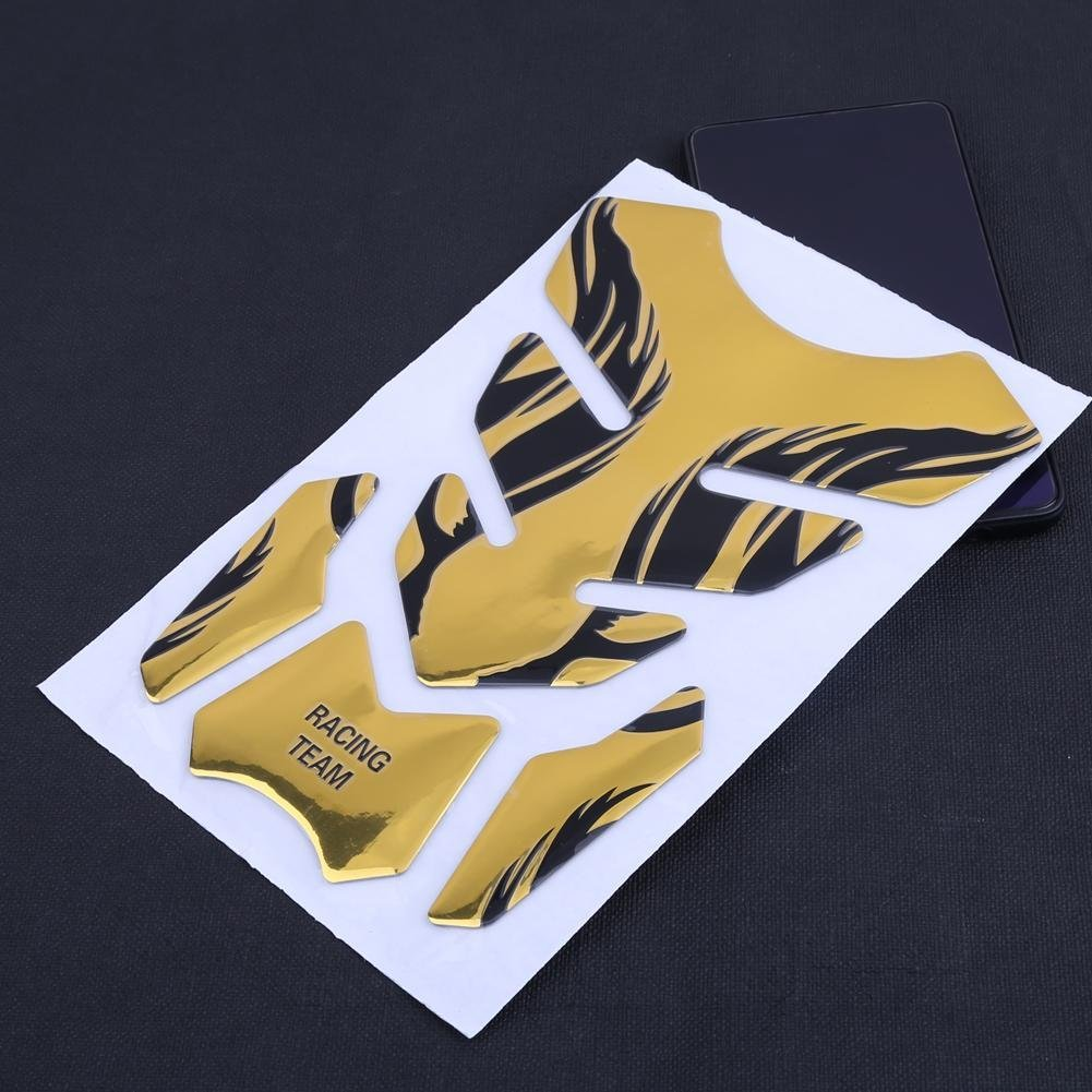 Trentyest 3D Flame Gas Fuel Motorcycle Tank Protector Pad Sticker for YAMAHA Gold