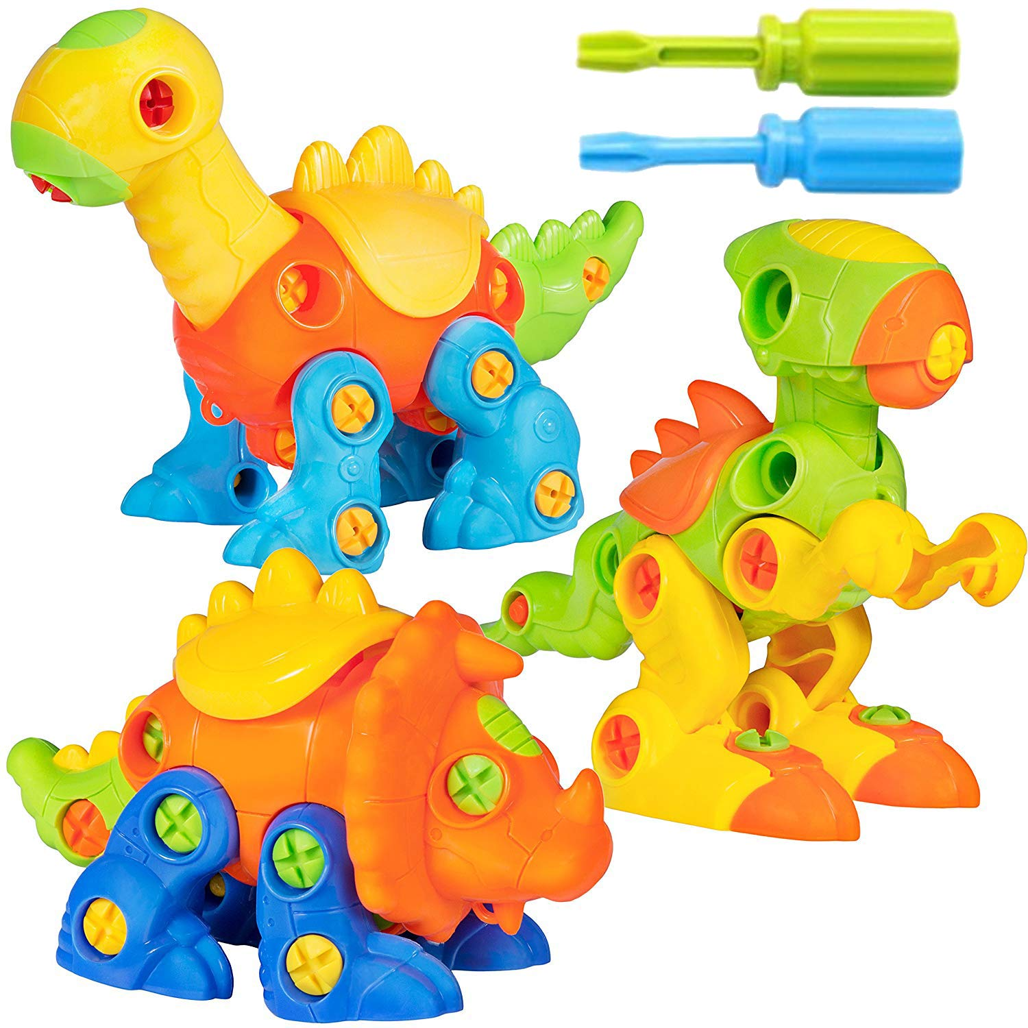 Liberty Imports Build A Dino Take Apart Dinosaur Toys | 106 Piece Set of 3 Construction Engineering Building STEM Learning Kids Puzzle Playset with Tools and Screws