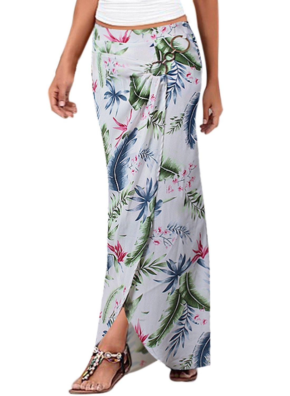 Vfemage Womens Summer Ruched High Waist Leaf Print Casual Beach Long Skirt 9205 FLW 12