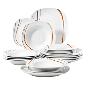 VEWEET 18-Piece Ceramic Stoneware Dinnerware Set Service for 6 Orange Stripe Patterns, Dinner Plate, Salad Plate, Soup Plate (Bonnie Series)