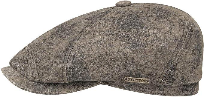 6 Panel Cap Sized Stetson McCook Distressed Leather Newsboy Cap