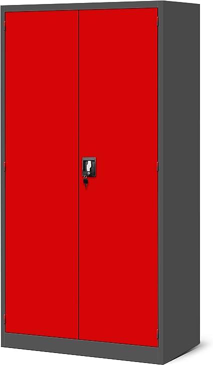 Armario para herramientas TC02AM, armario de taller con cajones, puertas correderas, 3 estantes, revestimiento de polvo, 185 cm x 92 cm x 50 cm, Rojo: Amazon.es: Bricolaje y herramientas