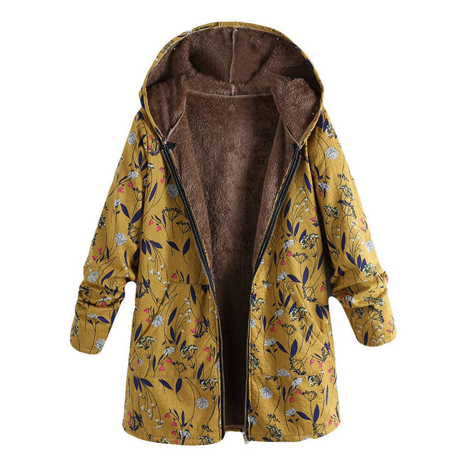 Amazon.com: Keasmto Winter Warm Wool Blends Hooded Coat Chaqueta Mujer JaquetaFloral Outerwear: Clothing