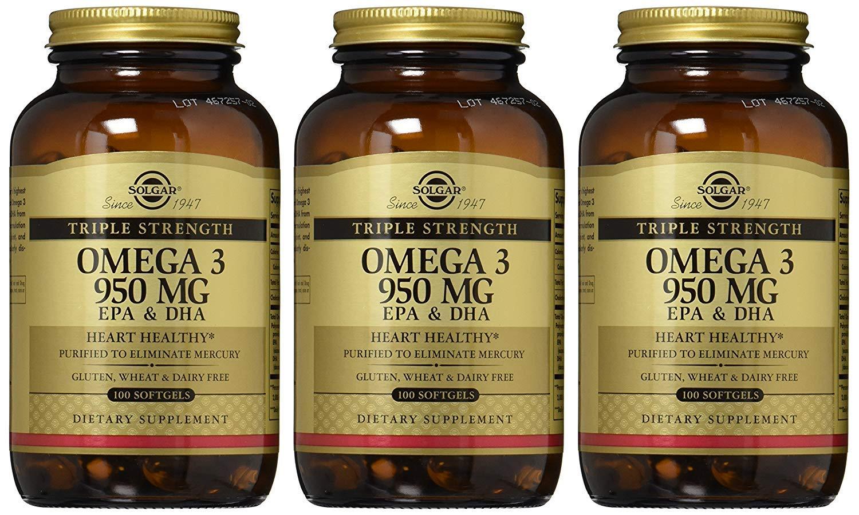 Solgar Triple Strength Omega 3 EPA/DHA 950 Mlligram, 100 Softgels (3 Packs)