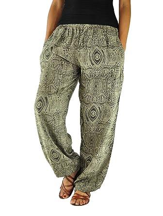 virblatt Patterned Harem Pants as Boho Chic Clothing (Size SL)- Gemütlich