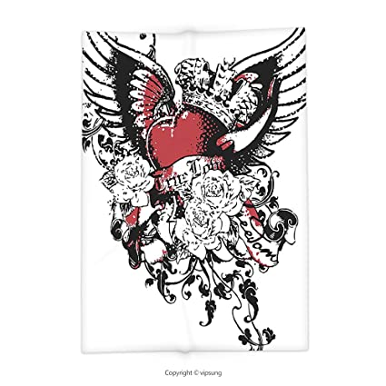 Vipsung Throw Blanket With Modern Tattoo Style Heart Crown With Wings Artictic Love Valentines Gothic Romance