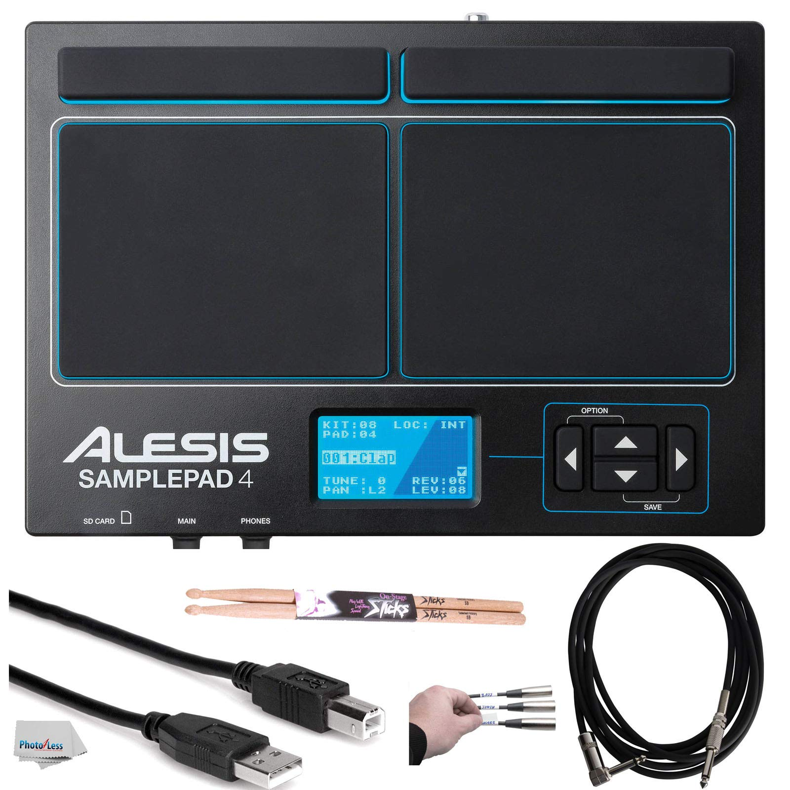 Alesis SamplePad 4 | Compact 4-Pad Percussion and Sample-Triggering Instrument with SD Card Slot + Pair of Drumsticks + Peel-Off Labels + Clean Cloth + Assorted Cables Bundle by Alesis