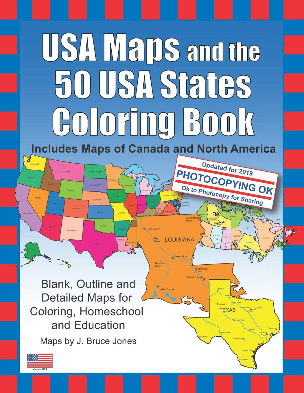 Amazon.com: USA Maps and the 50 USA States Coloring Book ...