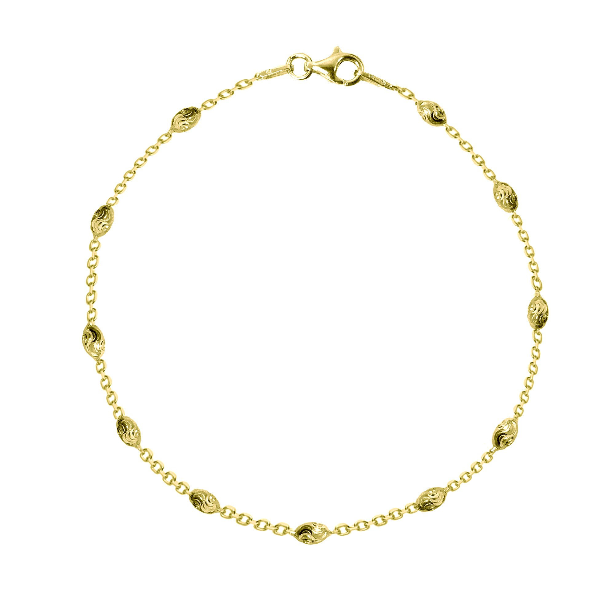 Sterling Silver or Gold-Tone Faceted Oval Barrel Bead Station Anklet