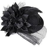 SODIAL(R) Femmes Barrette fleuri ressort Burlesque Punk mini-chapeau haut de forme noir