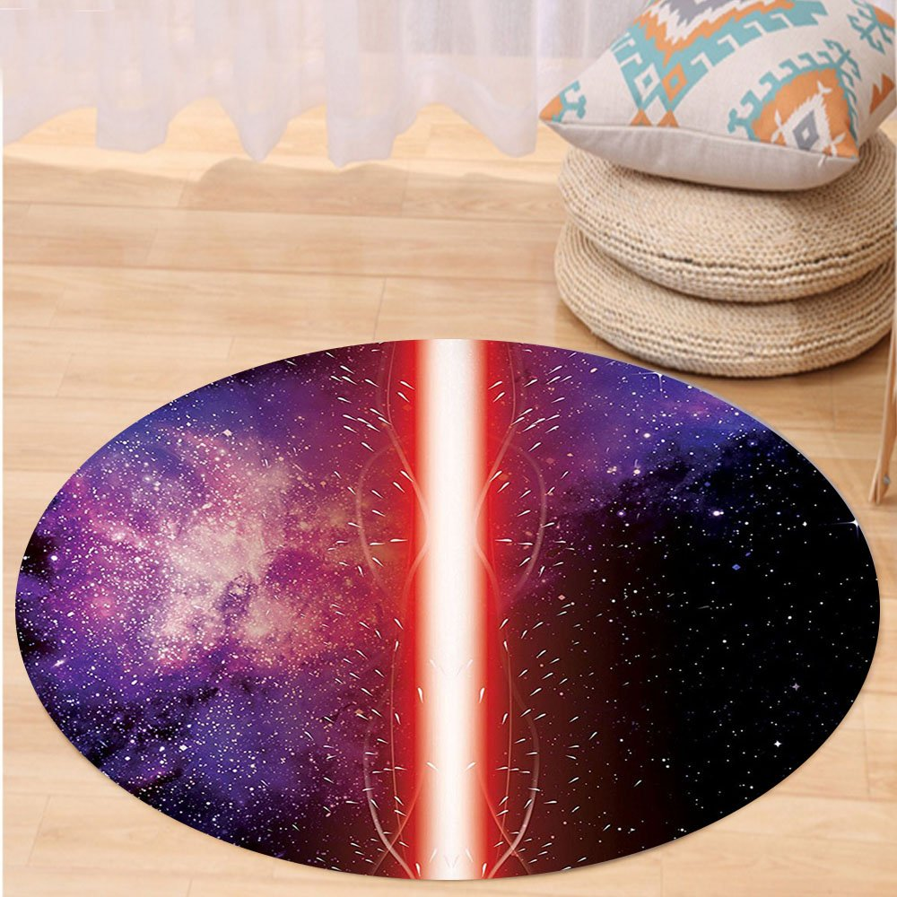 VROSELV Custom carpetGalaxy Famous Movie Weapon Fantastic Galaxy War between Enemies Themed Pattern Sword with Red Light Bedroom Living Room Dorm Decor Black Round 72 inches