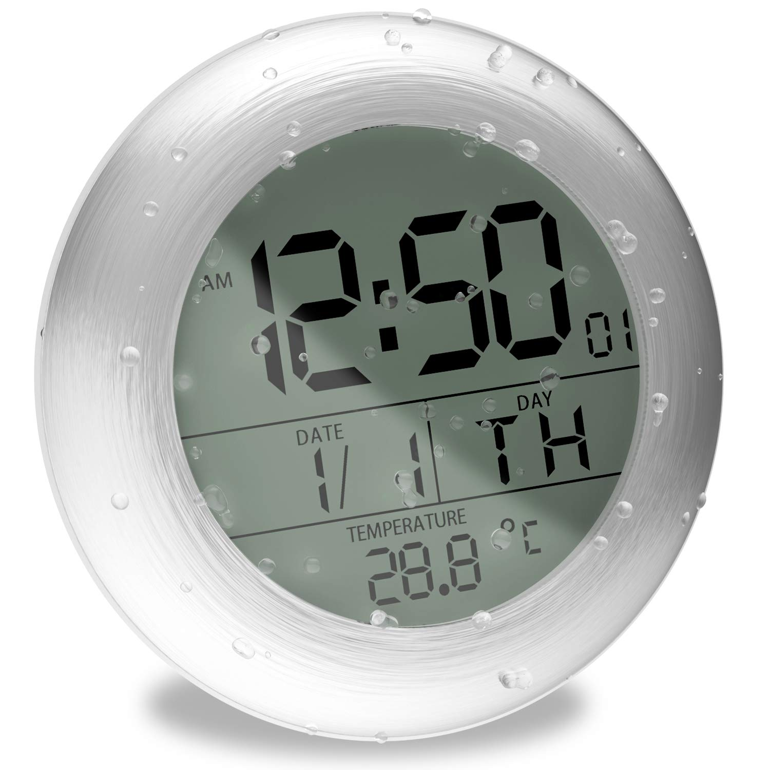 TOENNESEN Fashion Waterproof Bathroom Wall Clock Suction Cup Shower Clock with LCD Display, Date and Temperature (Round, Silver) M0006STH
