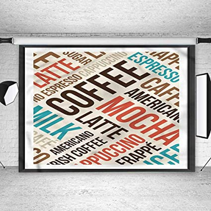 8x8FT Vinyl Photography Backdrop,Coffee,Cappuccino Mocha Espresso Background for Selfie Birthday Party Pictures Photo Booth Shoot