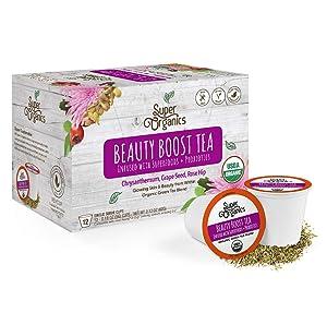 Super Organics Beauty Boost Green Tea Pods With Superfoods & Probiotics | Keurig K-Cup Compatible | Beauty Tea, Skin Care Tea | USDA Certified Organic, Vegan, Non-GMO Natural & Delicious Tea, 12ct