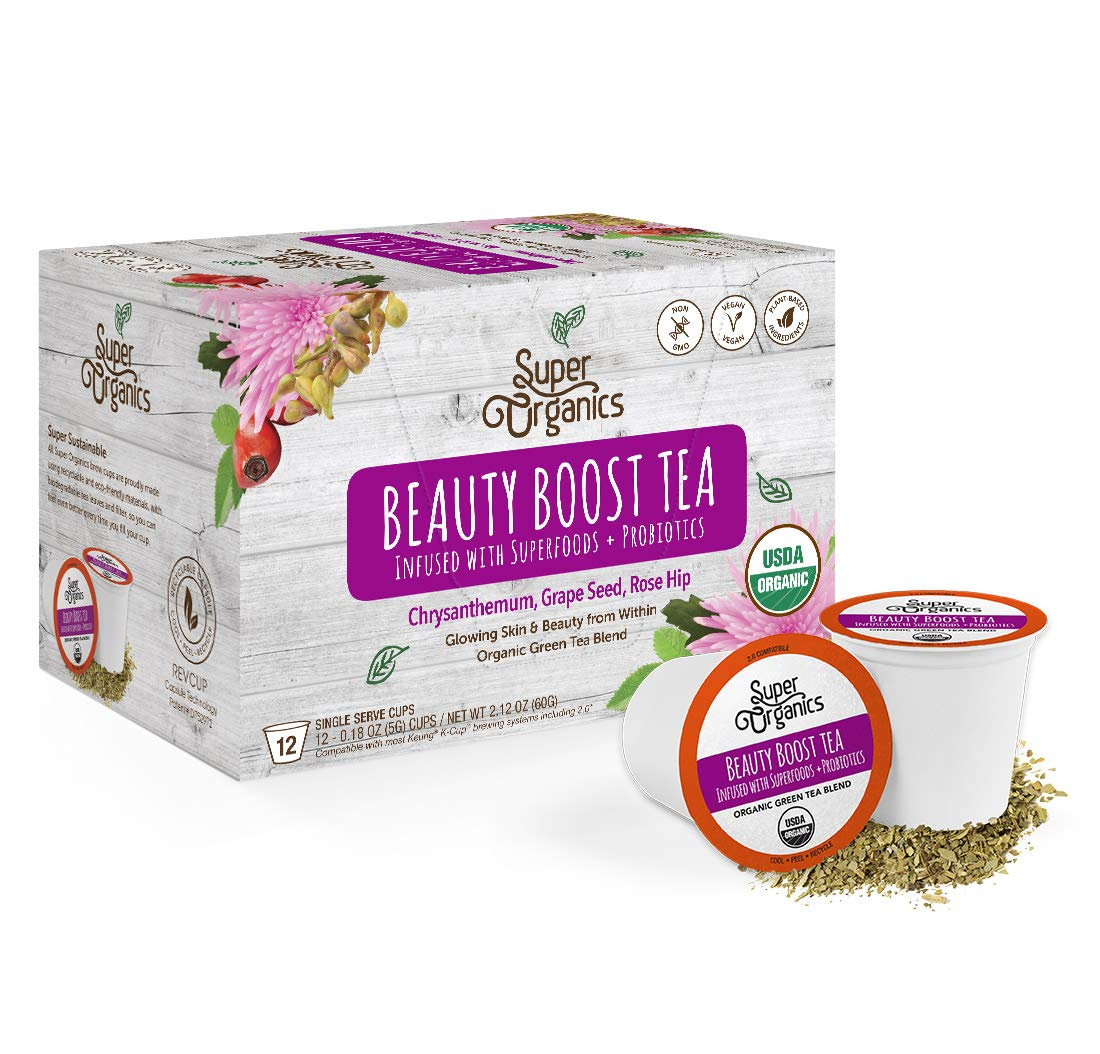 Super Organics Beauty Boost Green Tea Pods With Superfoods & Probiotics | Keurig K-Cup Compatible | Beauty Tea, Skin Care Tea | USDA Certified Organic, Vegan, Non-GMO Natural & Delicious Tea, 72ct