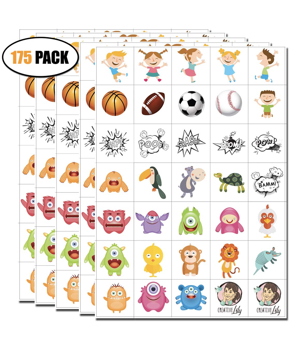 Temporary Tattoos for Kids – 175 Count on 5 Sheets – 35 Assorted Artworks per Sheet – Kids Friendly Tattoos for Party Favors Birthday Supplies Stocking Stuffers Goodie Bags for Boys & Girls