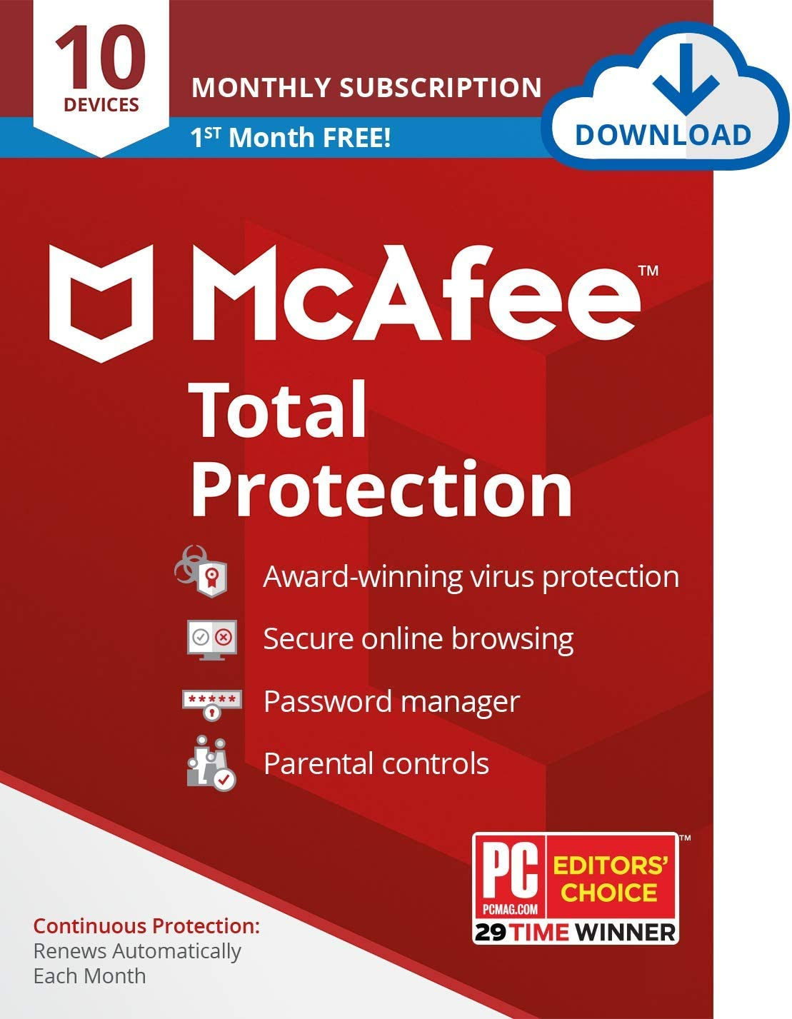 McAfee Total Protection 2020 Antivirus Internet Security Software, 10 Device Password Manager, Parental Control, Privacy, 30 Days Free with Monthly Auto Renewal - Amazon Exclusive Subscription