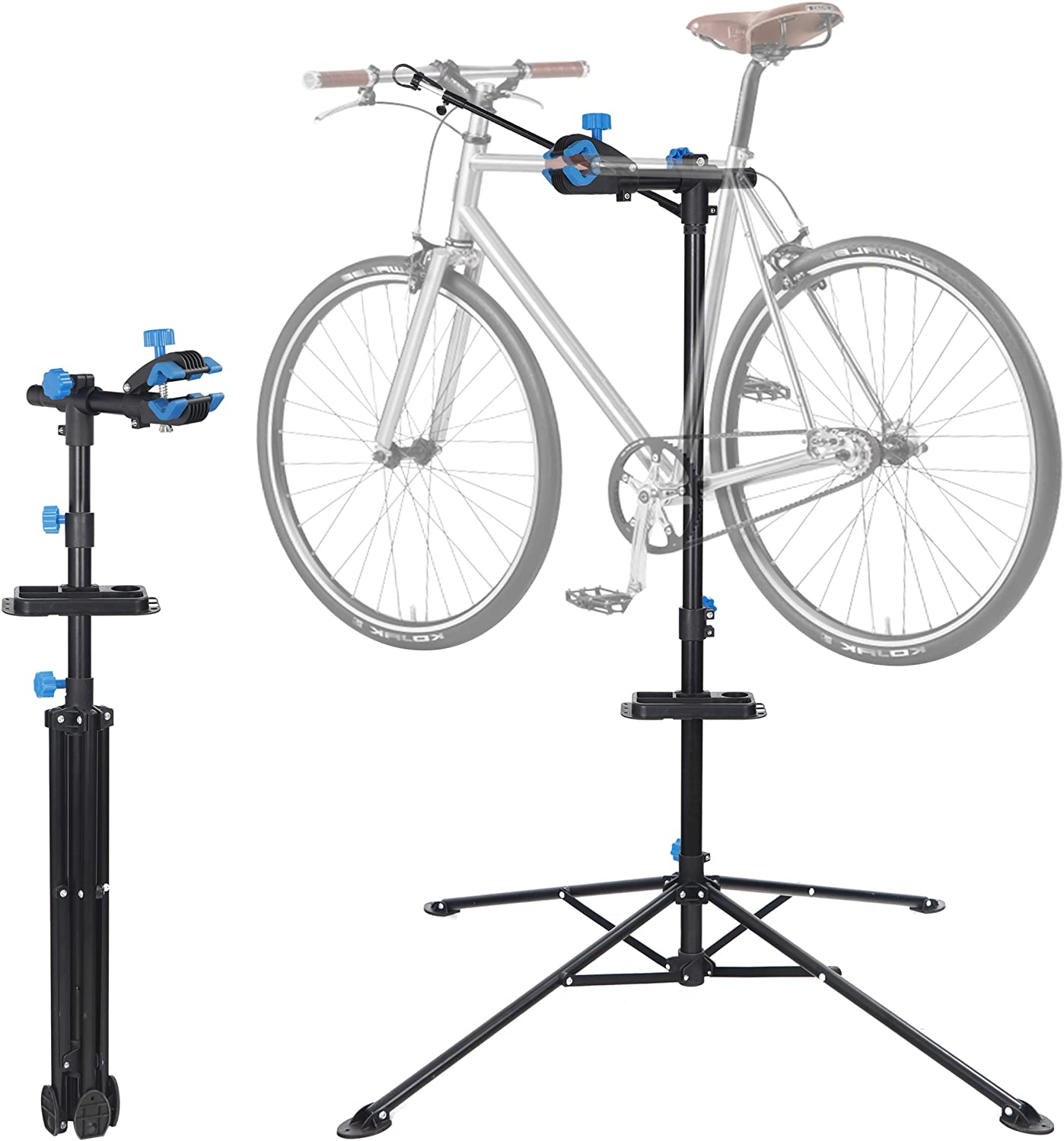 Amazon Com F2c Portable Adjustable 42 5 To 74 Pro Home Steel Maintenance Mechanic Bicycle Bike Repair Tool Rack Stands Workstand W Telescopic Arm Tool Tray Balancing Pole Cycle Bicycle Rack Sports