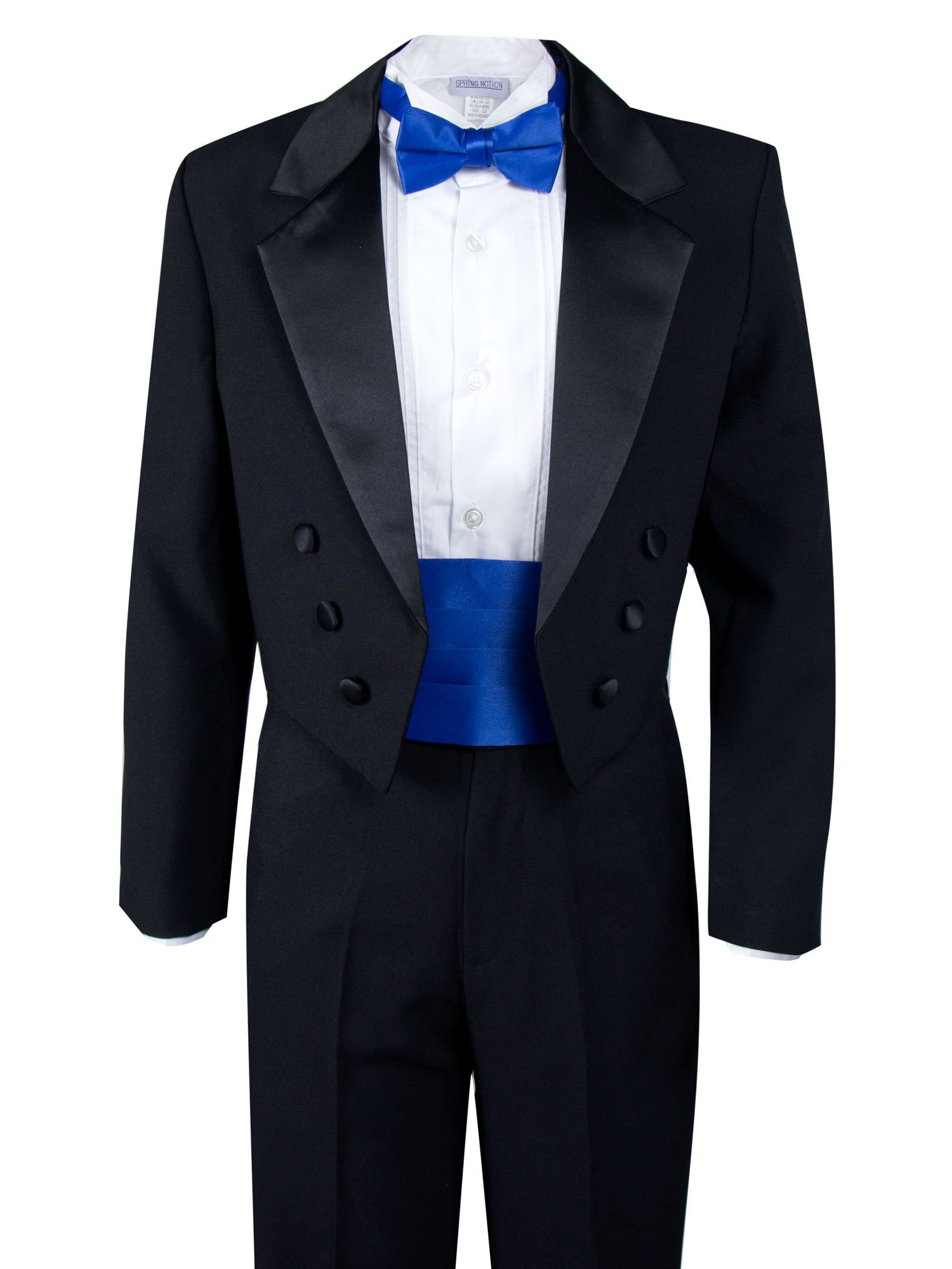 Spring Notion Boys' Black Classic Tuxedo with Tail Royal Blue 8