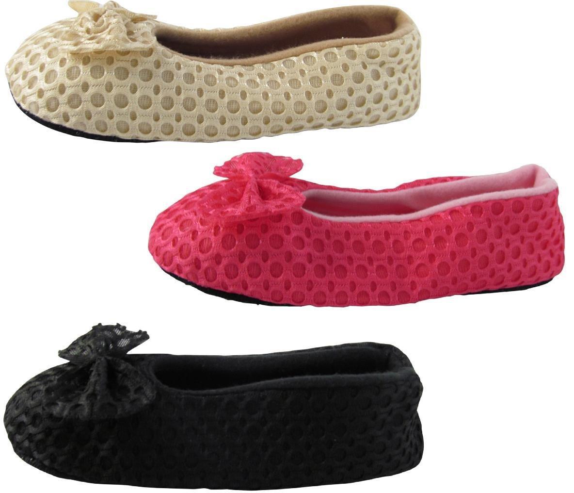 J.Ann-Cozy 3-Pair/Pack Slipper Sock, Non-Slip, Size 24-25cm.BLACK, FUSCHIA,BEIGE