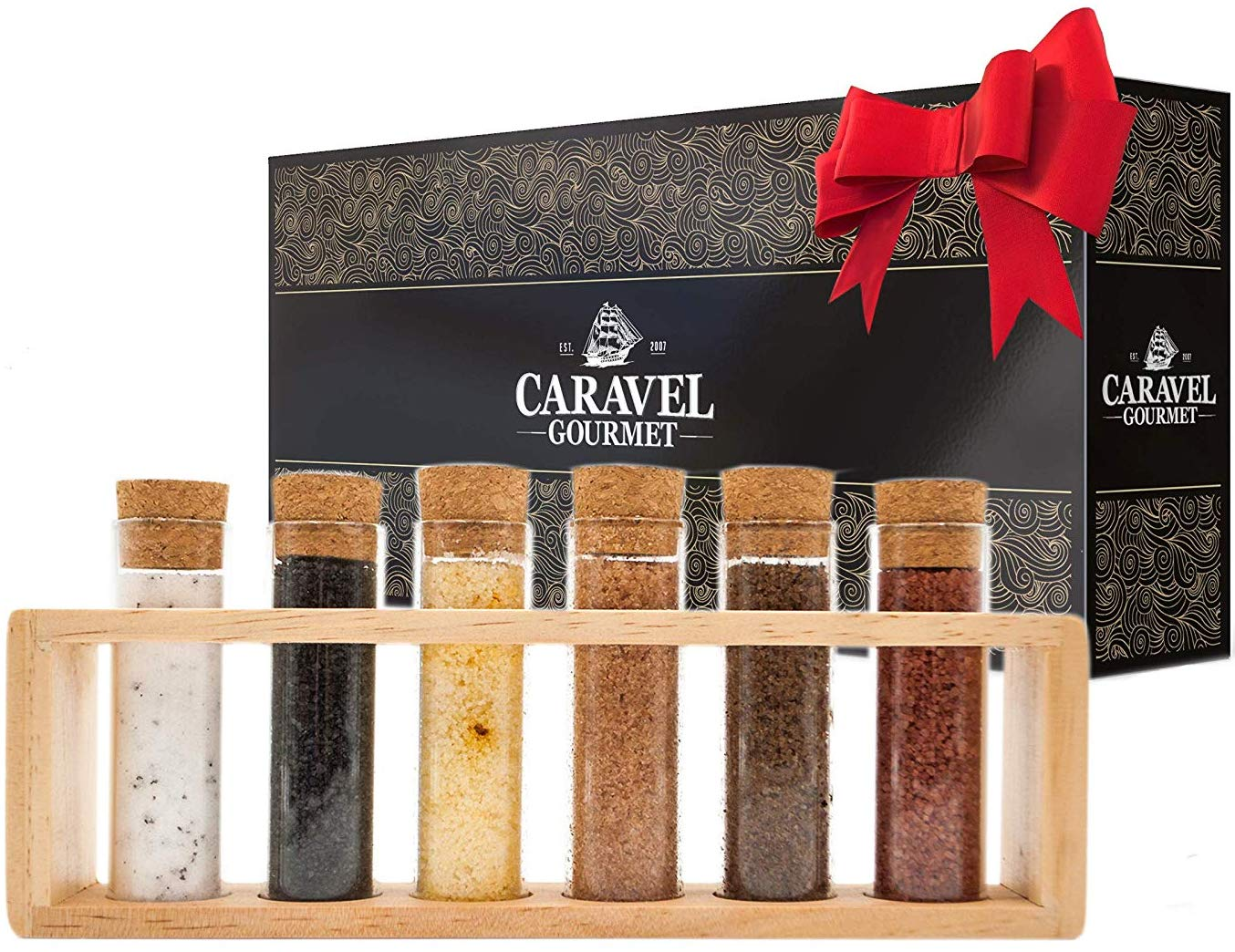 The Deluxe Gourmet Infused Sea Salt Sampler - Beautiful Wooden Rack Gift Set with 6 Reusable Glass Vials - 1.7 oz. each - Holiday Gift for Cooks, Hostesses, Foodies