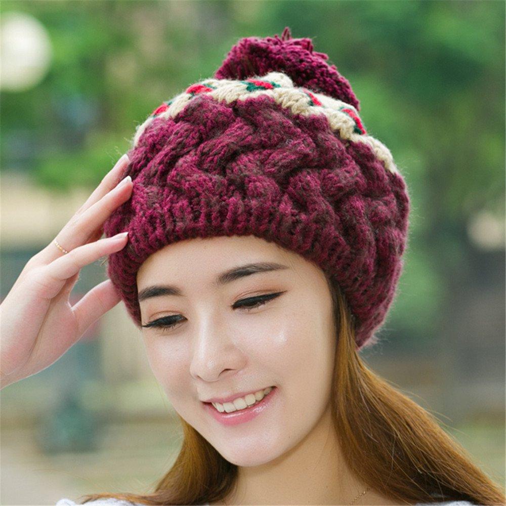 La mujer en el otoño y el invierno cálido ear Bailey Hat Lady gorro de punto hat lindo invierno todo...