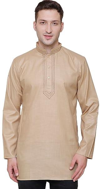 MapleClothing Arce Ropa India Ropa Fashion Camiseta Bordado para Hombre Corto Kurta algodón India Vestido -