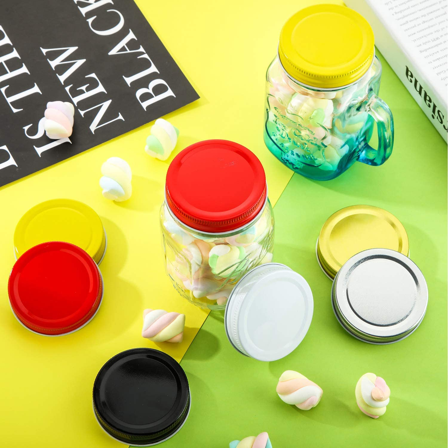 White Silver 12 Pieces Multicolors Regular Mouth Mason Canning Jar Lids Silicone Seals Leak Proof Secure Mason Storage Solid Caps Black Gold Yellow Red