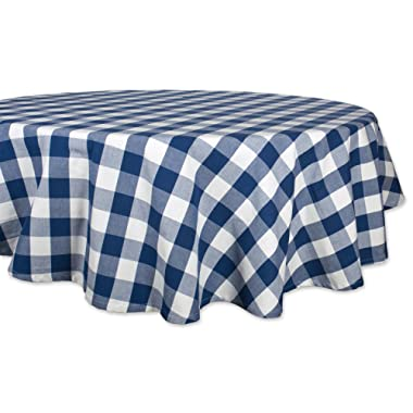 DII Cotton Buffalo Check Plaid Round Tablecloth for Family Dinners or Gatherings, Indoor or Outdoor Parties, & Everyday Use (70x70 ,  Seats 4-6 People), Navy & Cream
