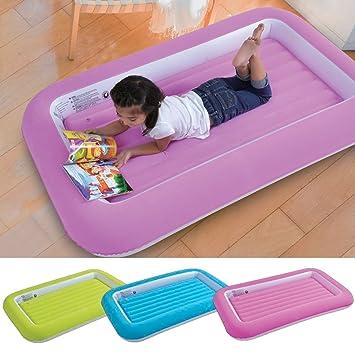 Cama hinchable para niños de Parkland®, cama de campamento infantil; suave, cómoda, divertida y colorida, para invitados de pistas de pijama