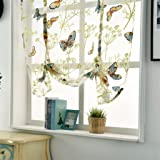 display08- Tenda a pacchetto corta per finestre, decorazione per la casa in tessuto velato, motivo con fiori e farfalle, Poliestere, 60 x 120 cm