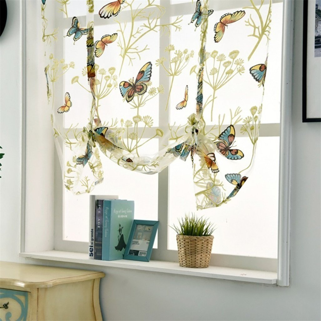 display08 - Tenda a pacchetto corta per finestre, decorazione per la casa in tessuto velato, motivo con fiori e farfalle, Poliestere, 60 x 120 cm