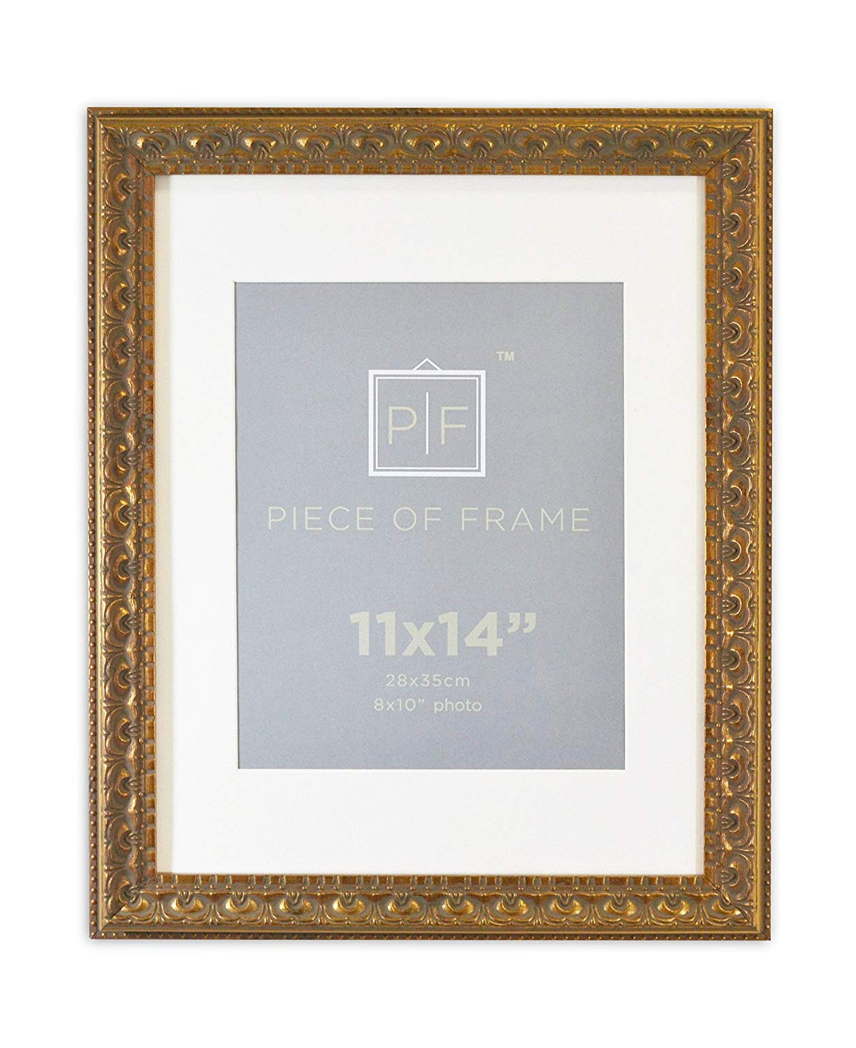 Golden State Art 11x14 Ornate Finish Photo Frame, with Ivory Mat for 8x10 Picture & Real Glass, Color Bronze
