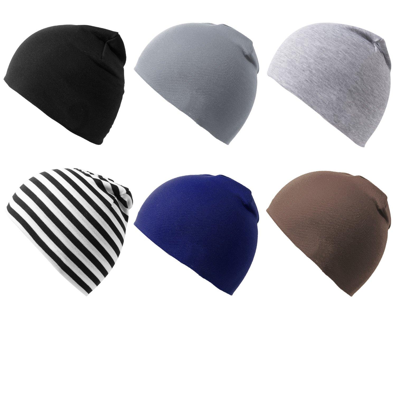 Amandir 6 Packs Baby Hats Infant Toddler Beanie Hats Unisex Cotton Soft Cute Knit Kids Hat
