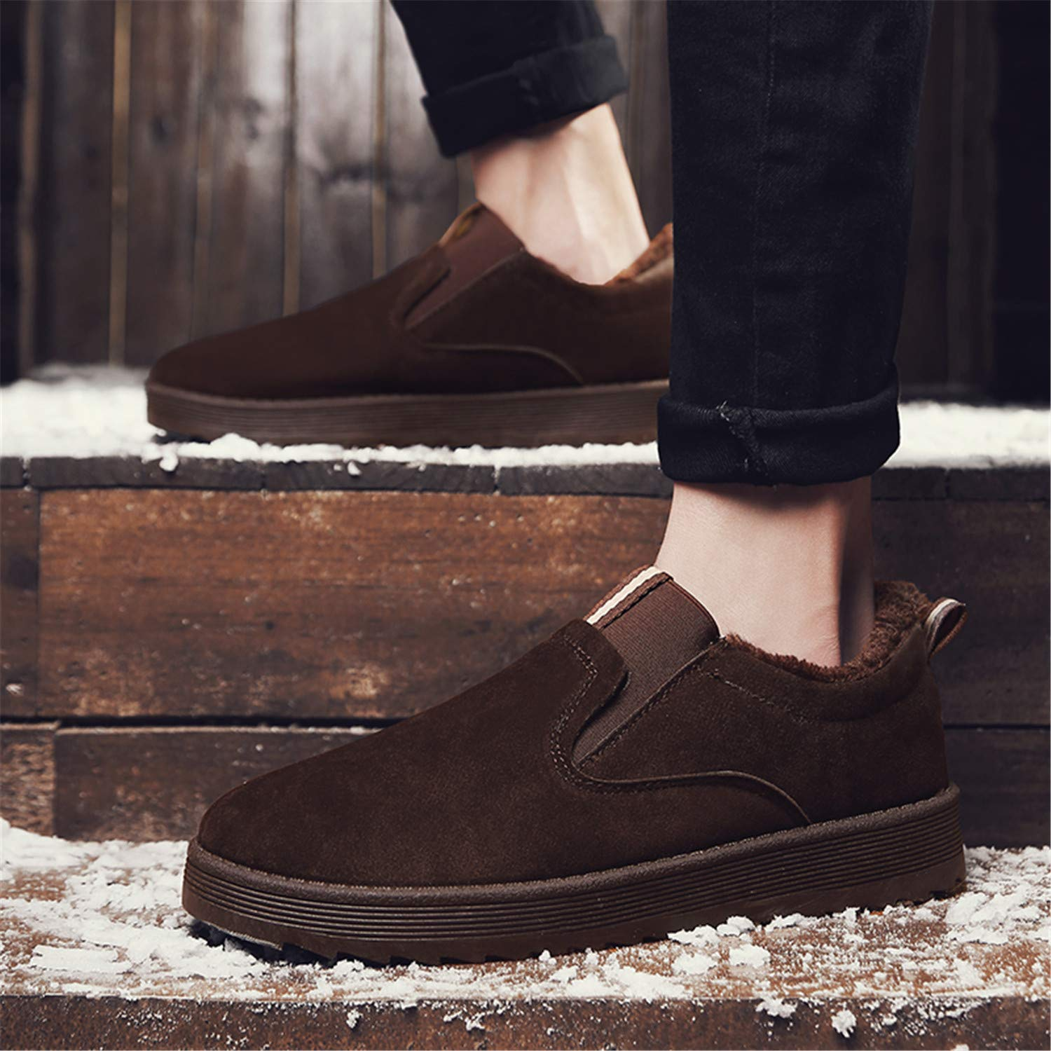 EKINL Mens Winter Outdoor Walking Shoes Comfortable Warm Flats for Workout Suede Snow Boots Low-top Sneakers Slip On