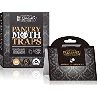 Dr. Killigan's Premium Pantry Moth Traps with Pheromone Attractant | Safe, Non-Toxic with No Insecticides | Organic (6, Black)