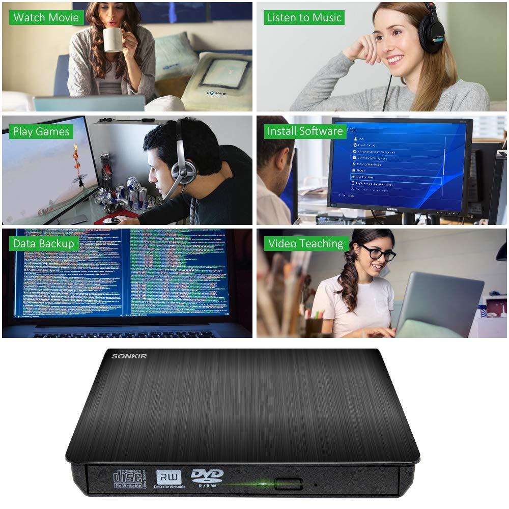 Amazon.com: Sonkir - Unidad de CD y DVD externa USB 3.0 (+ ...