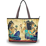 DEYYA Women Large Tote Bag Vintage Ancient Egyptian Shoulder Handbags Satchel Messenger Bags for Ladies
