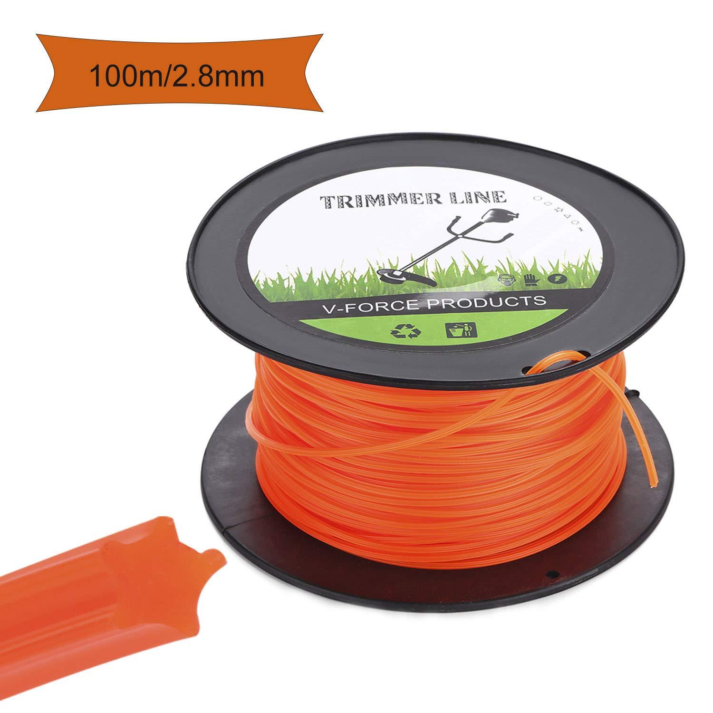Trimmer Line Bordo Fili per Taglio 2.8mm//100m Linea Tagliata per Pascolo Erbaccia o Giardino Arancione Stella