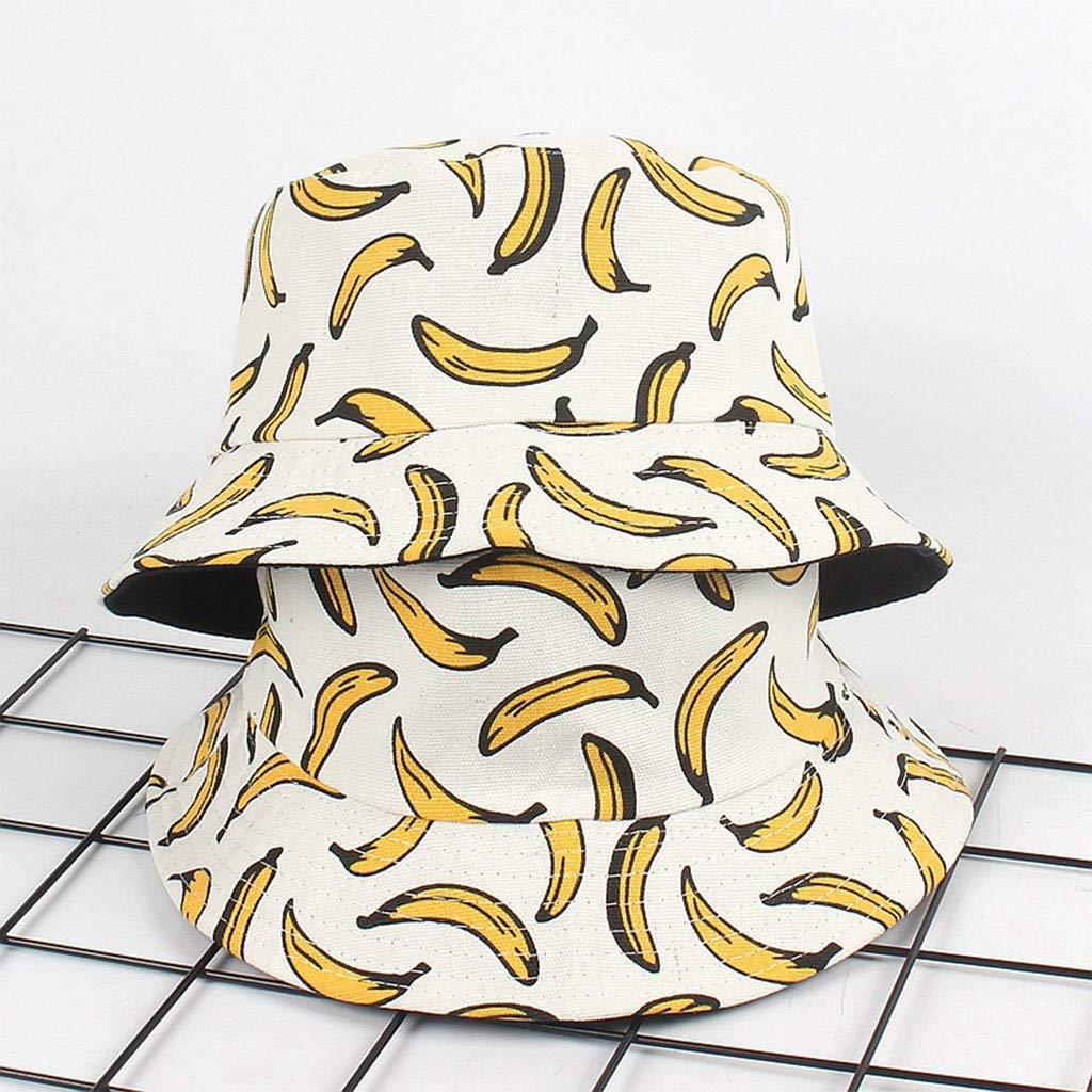 XGao Bucket Hats for Women Bucket Hat Banana Print Bucket Hat Fruit Pattern Fisherman Hats Summer Reversible Packable Cap White Bucket Hats for Men