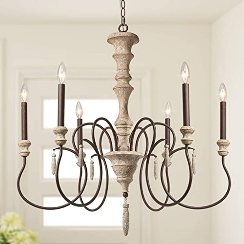 LALUZ French Country Chandelier Rustic Handmade Wood 6 Light Fixture