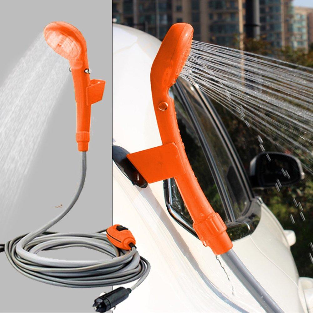 Sel-More - Alcachofa de ducha portátil para exteriores – Universal portátil 12 V coche exterior Camper Caravan Camping Clean Kit de ducha, hombre, naranja
