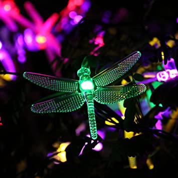 ruichentm battery operated string lights 20ft 30 led dragonfly fairy christmas lighting with