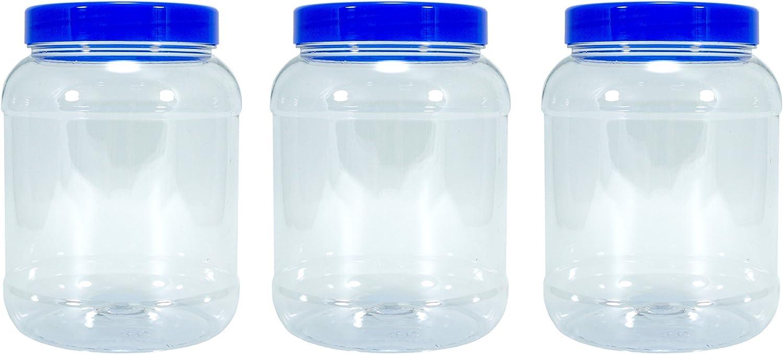 Britten & James® Bote de plástico transparente vacío de 2,5 litros con tapa plana de rosca azul, paquete de 3