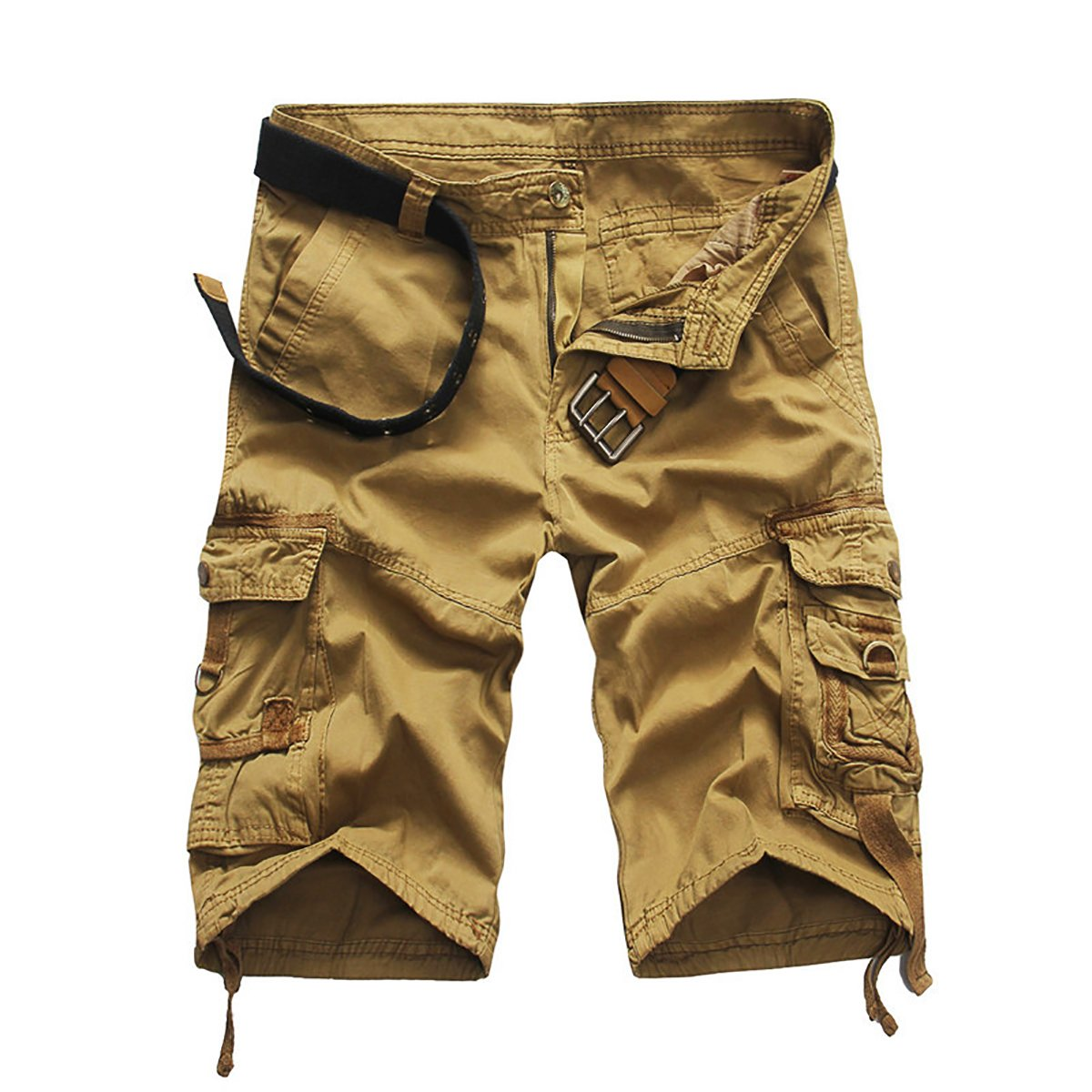 GARMOY Men's Cargo Shorts Camouflage Multi Pockets Twill Fit Breathable Summer Loose Outdoor Shorts Khaki-32