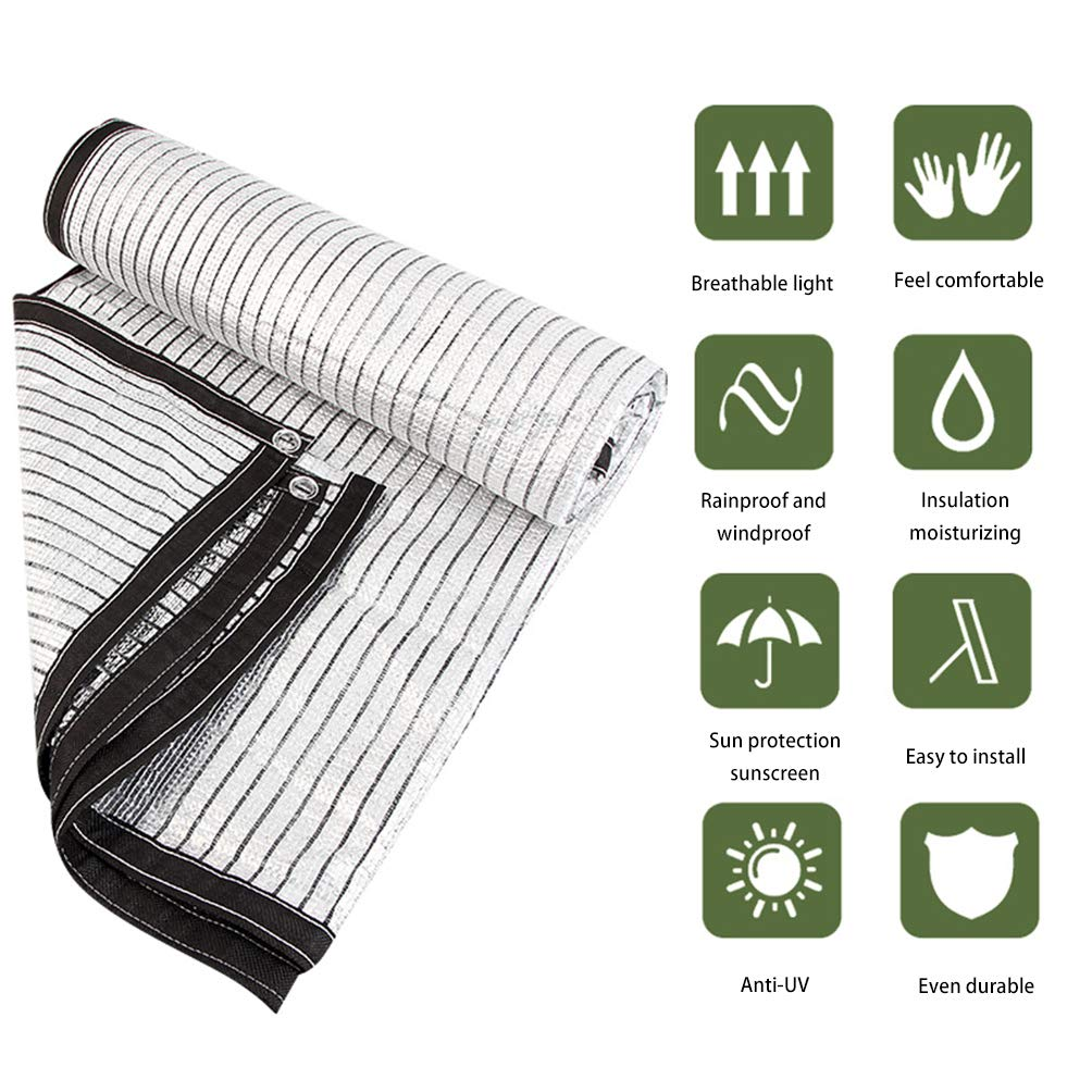 ZZR Durable Shade Net Screen Cloth,Sunblock UV Resistant Green Plant Cover Canopy Top Shade Mesh,Sun Tarp Sun Shelters with Grommets,Shade for Plant,Greenhouse,Barn,4m8m White by ZZR